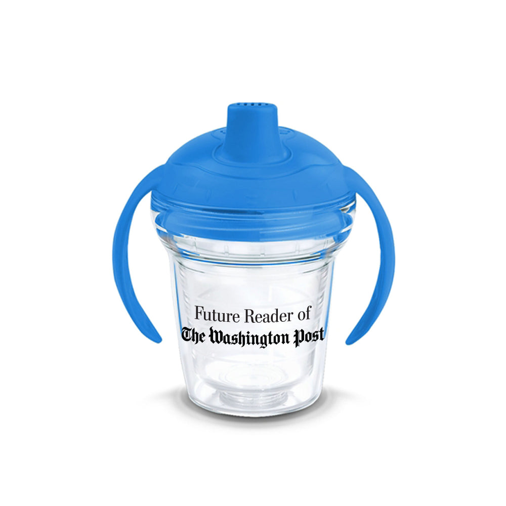 Future Reader of The Washington Post sippy cup in blue and clear