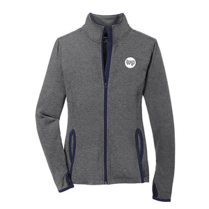 Charcoal grey women's workout jacket with WP logo