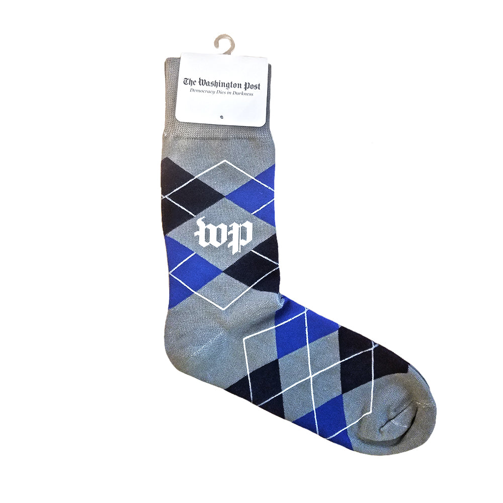 Argyle socks in grey, blue and navy