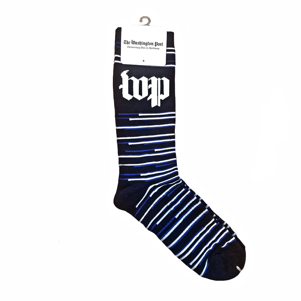 WP branded black and white pattern men's socks