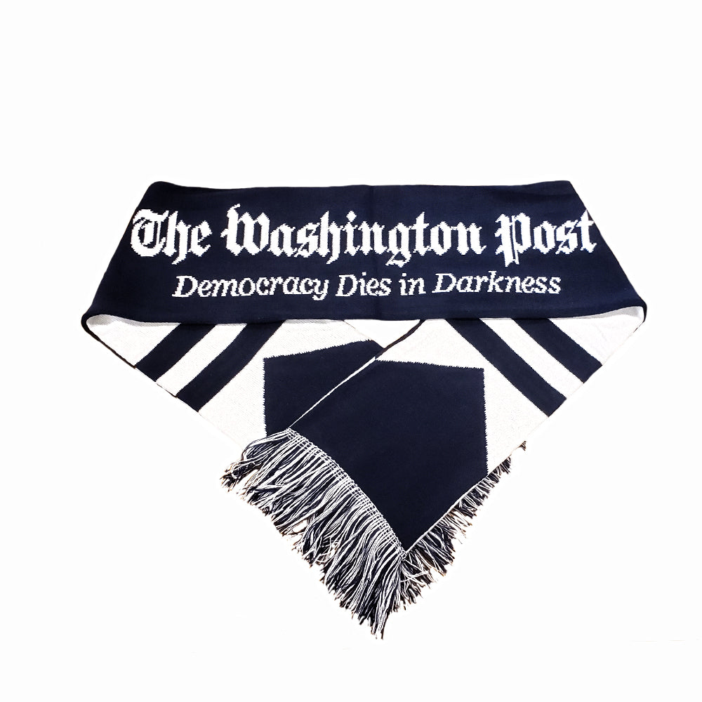 Winter scarf with the Washington Post logo and tagline