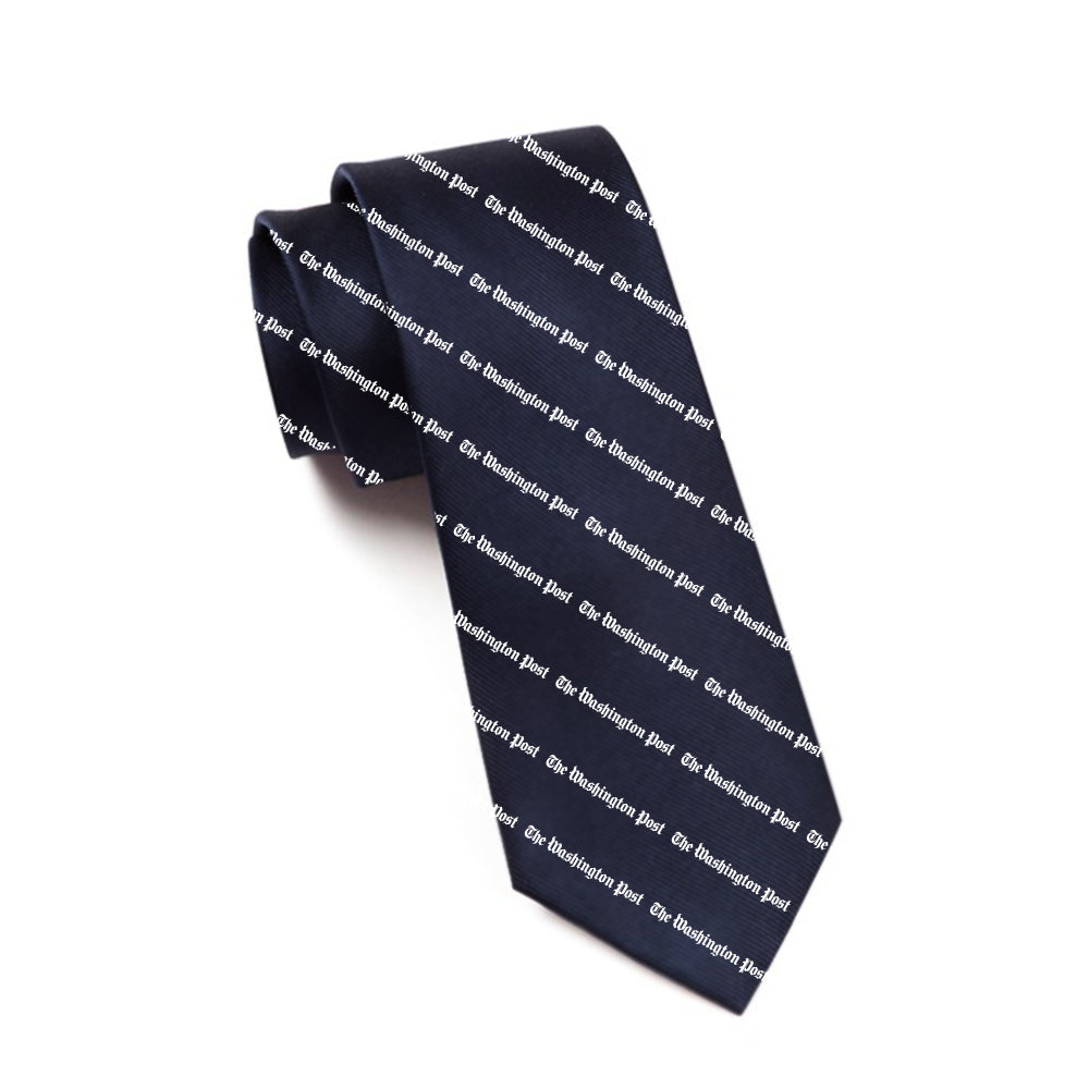 Navy tie with The Washington Post logo as a pattern