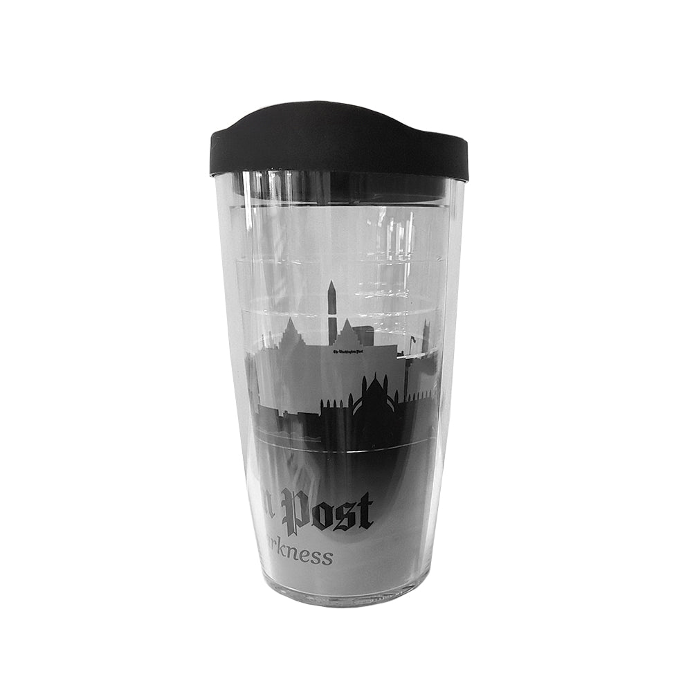 Clear plastic tumbler with black and white cityscape image of Washington DC
