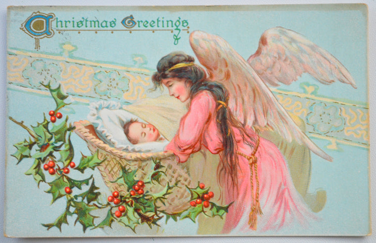 Christmas Postcard Angel Sleeping Baby Tuck Series 102