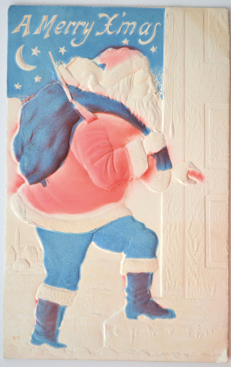 Christmas Postcard Santa Airbrushed Embossed Red White Blue Colors