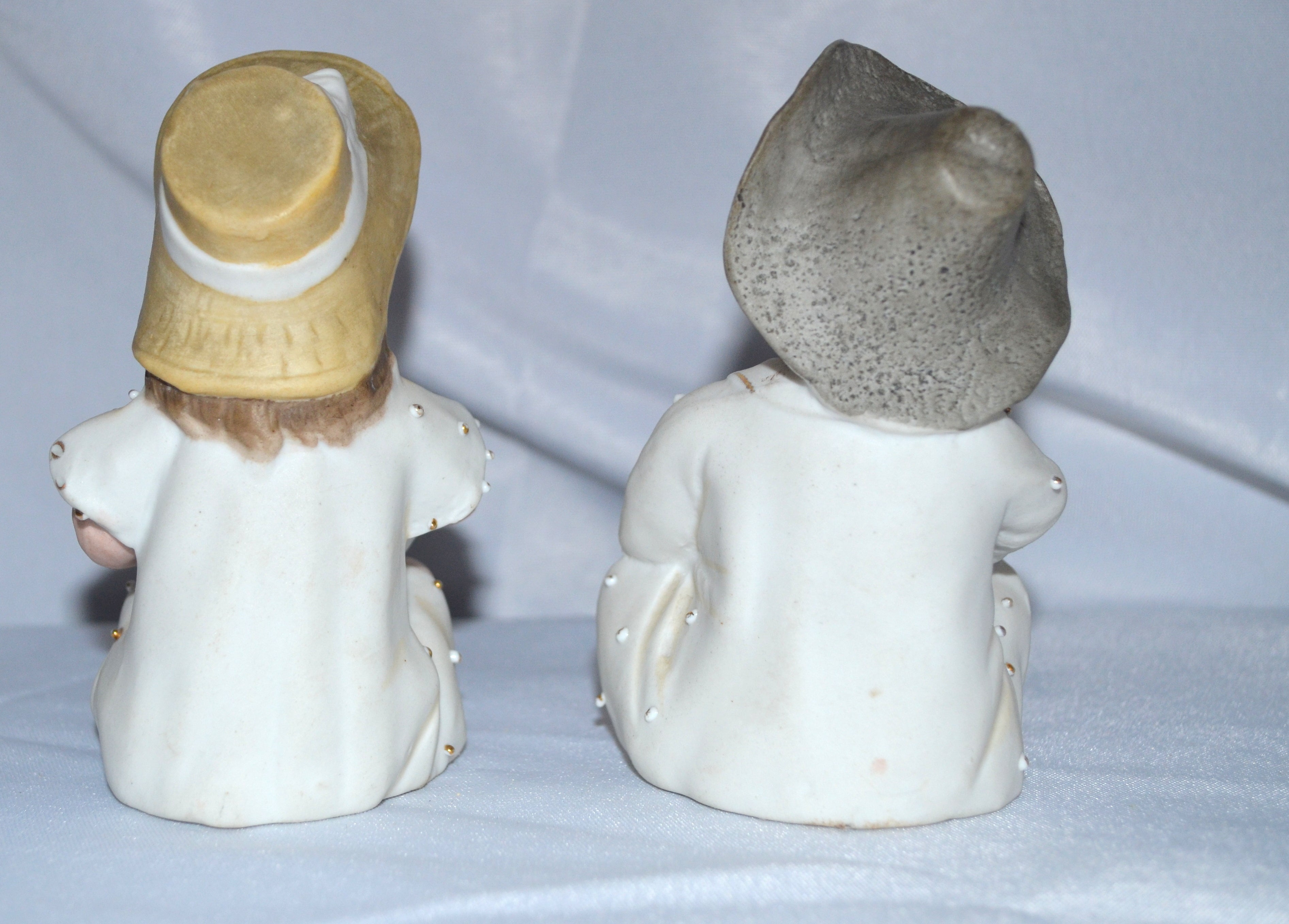 German Porcelain Bisque Piano Baby Pair Two Statues