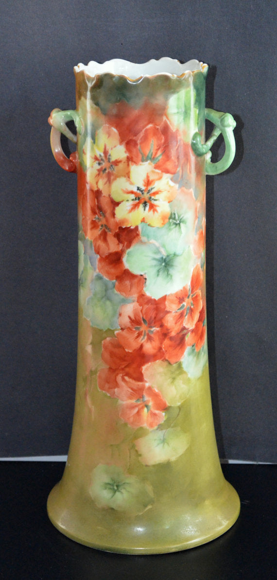 "LIMOGES Vase Twisted Handle Hand Painted Poppies William Guerin French Porcelain 15"" Art Nouveau Period Decor"