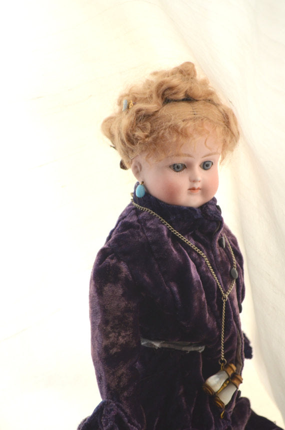 "Alt Beck Gottschalk Antique German Bisque Shoulder Doll Rare Swivel Head Pierce Ears 15"" French Market Circa 1885"