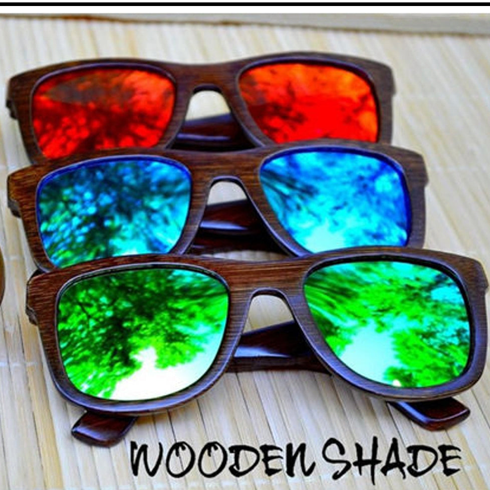 Dark Frame Bamboo Sunglasses