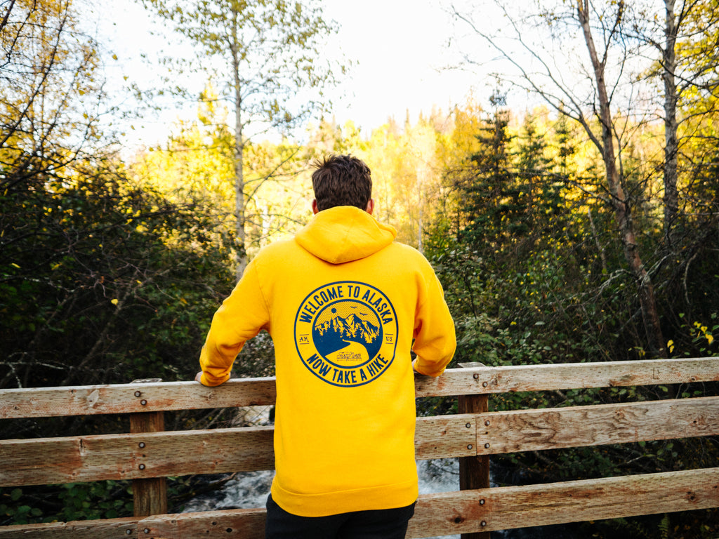 2019 fall collection yellow take a hike hoodie back