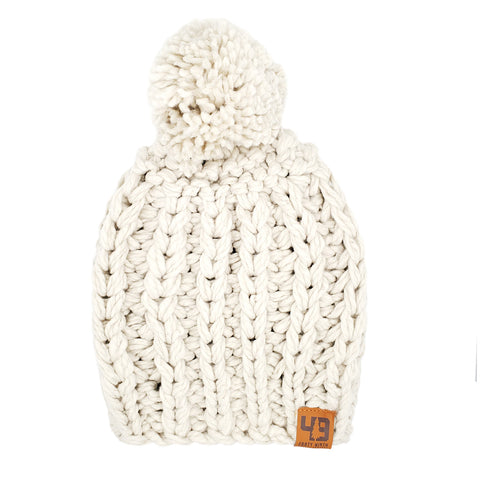 The Cordova Pom Bone Beanie