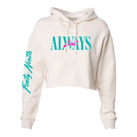 Always Lost Crop Top Hoodie Bone