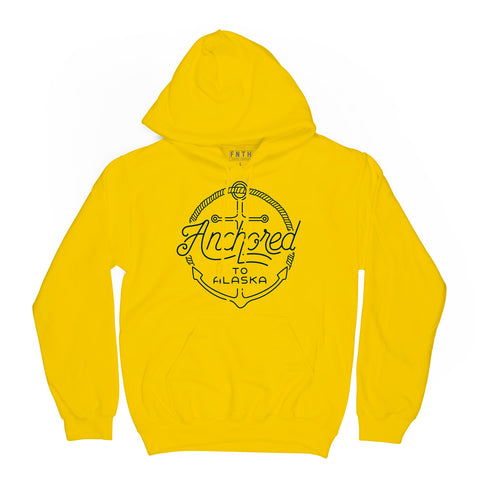 Anchored To Alaska Yellow Hoodie