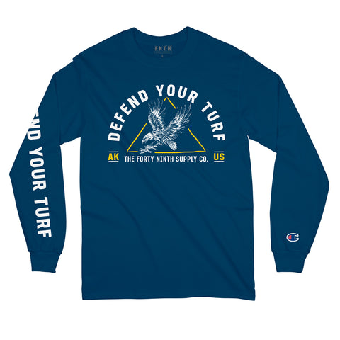 Defend Your Turf Navy Blue Long Sleeve T-Shirt