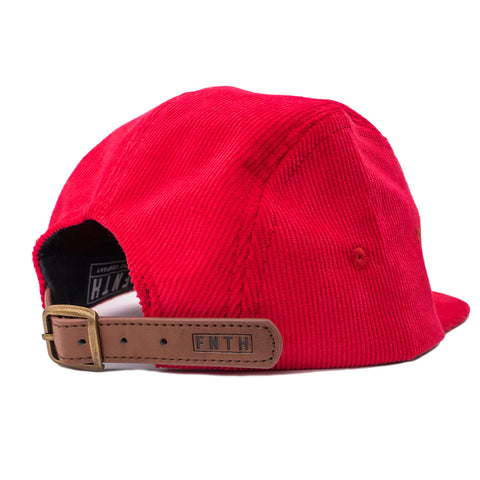 Clarkson Red Corduroy 5 Panel Strapback Hat