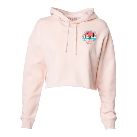Welcome To Paradise Crop Top Hoodie Blush