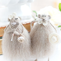 Two Knitted Mice, 3 skin colours