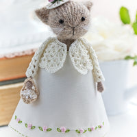 Lady Cat in Pink Roses dress