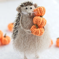 hedgehog with pumpkins