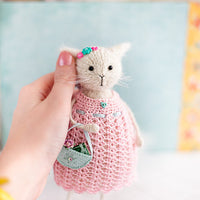 White Cat Art Doll in Pink