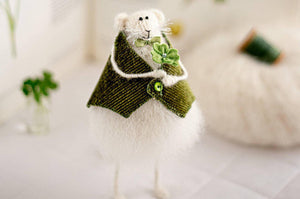 St Patrick's Day Knitted Mouse Rat Art Doll