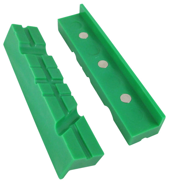 "Universal Multi-Groove Vise Jaws, Synthetic Rubber Jaws 6"" Green"