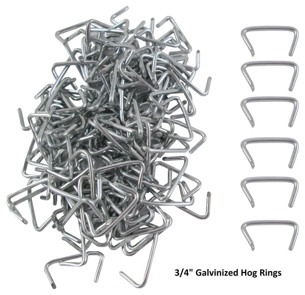 "Galvanized 3/4"" Hog Rings, 500 Pack"