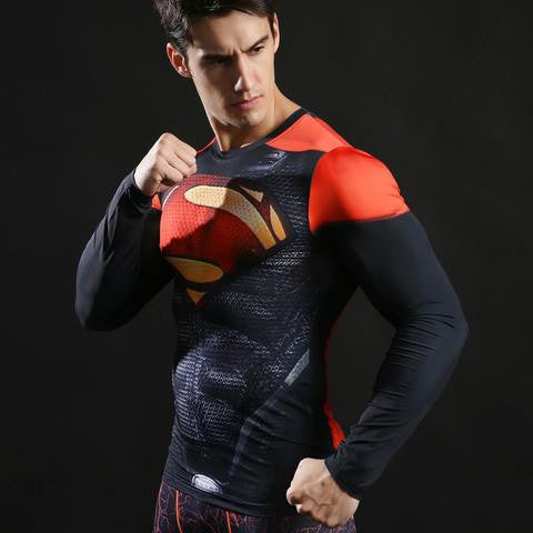 Classic Red & Black Superman Long Sleeve Compression Shirt