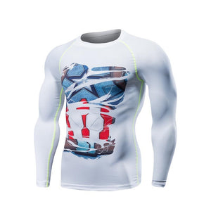 Captain America Ripped Long Sleeve Compression Shirt