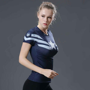 Women's Blue Captain America Short Sleeve Compression Shirt