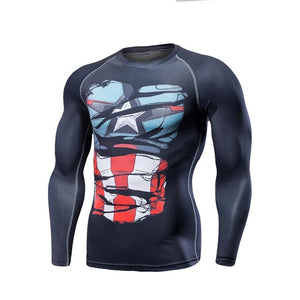 Captain America Black Ripped Long Sleeve Compression Shirt