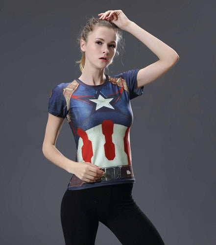 Women's Captain America Short Sleeve Compression Shirt
