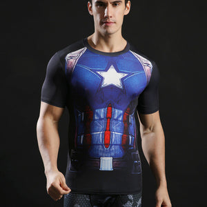 Captain America Civil War Short Sleeve Compression Shirt