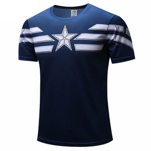 Captain America Stripes Short Sleeve Compression Shirt