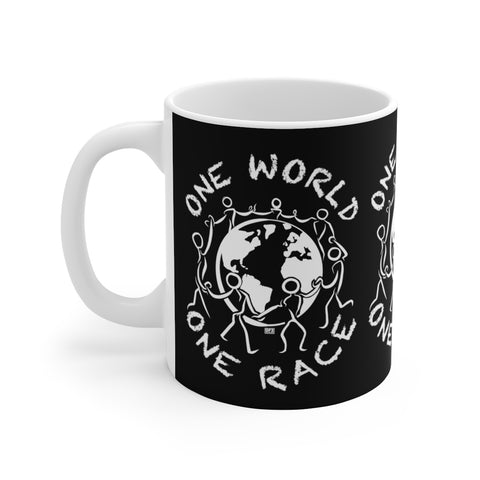 One World One Race - White Ceramic Mug Black