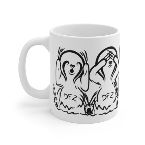 Hear No Evil Zzzz sloths- White Ceramic Mug