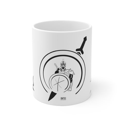 Spartan w/ Wolves - White Ceramic Mug