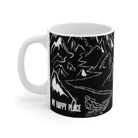 My Happy Place (black) - White Ceramic Mug