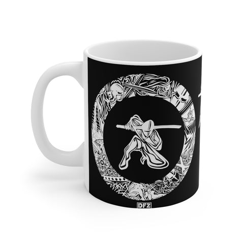 Ninja (negative) - White Ceramic Mug