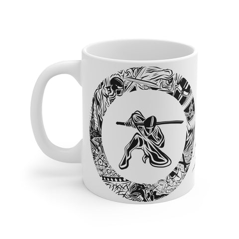 Ninja w/ Wolves - White Ceramic Mug