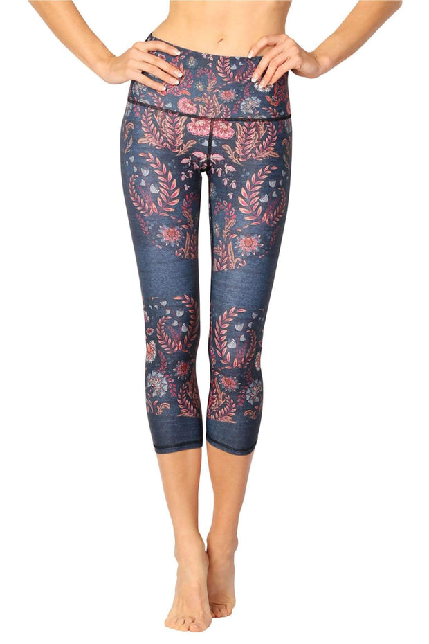 Festival Denim Printed Yoga Crops