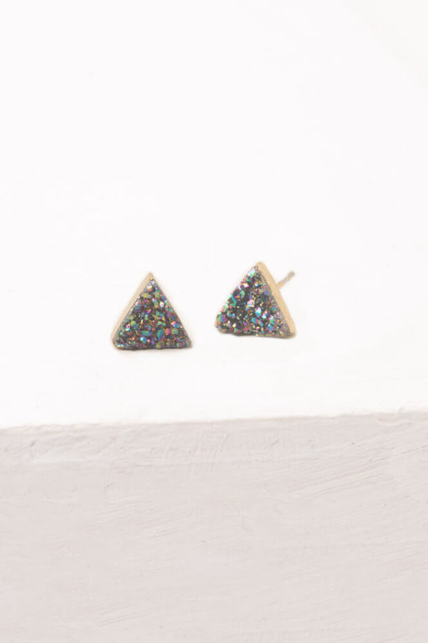 Kyra; Multicolored Druzy Stud Earrings