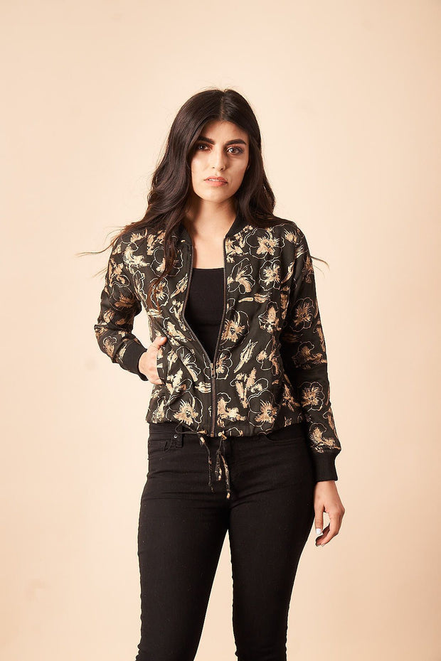 Hibiscus Flower Bomber Jacket in Black + Gold