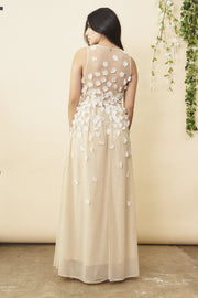 Floral Ombre Maxi Gown in Champagne and Cream