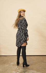 Stylized Feather Shirtdress in Black + Cream