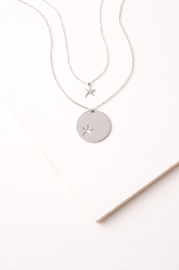 Community Silver; Starfish Pendant Necklace Set