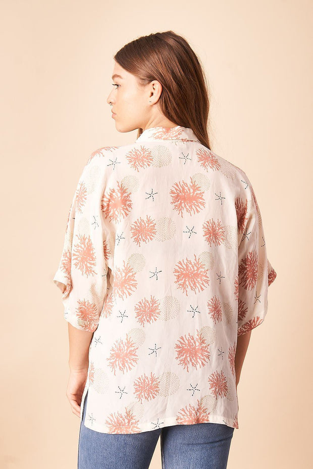 Seascape Silk Blouse in Cream + Rose