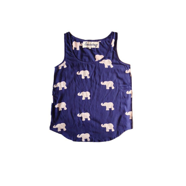 Marching Elephants Tank in Navy + Cream