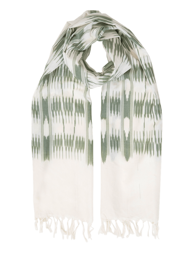 Cream & Olive Banded Stripes Scarf