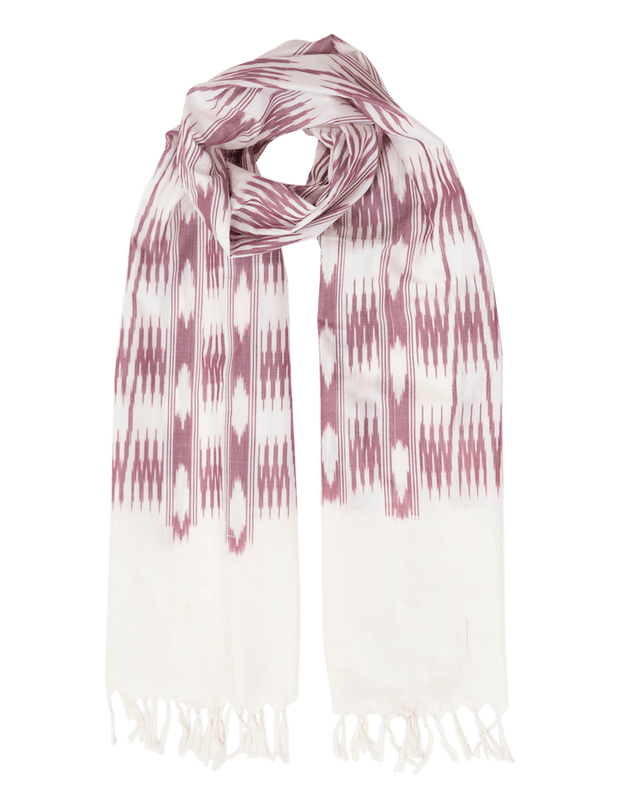Cream & Pink Banded Stripes Scarf